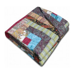 Greenland - Greenland Colorado Cabin Accessory Throw - Create a rustic mood with the Colorado Cabin quilted throw. An eclectic mix of retro and modern fabrics assembled in traditional log cabin pattern, this heirloom quality quilt delivers authentic patchwork styling