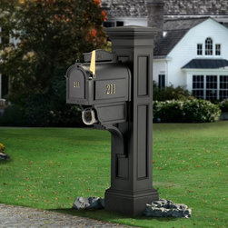 Mayne - Mayne Liberty Mail Post - 5805-B - Shop for Mailboxes and Accessories from Hayneedle.com! Create a stately mailbox in a style that never goes out with the Mayne Liberty Mail Post. This distinctly American New England-style plastic post cover goes over a standard 4- x 4-inch post to create a classic look. It's built from molded heavy-duty polyethylene with UV inhibitors to protect your choice of color and includes a large decorative post mailbox support arm and built-in paper holder. A medium or large mailbox is recommended at least 7 inches wide and weighing less than 16 lbs. Use a 4- x 4-inch post at least 84 inches high.About MayneMayne products Outdoor Products of Distinction a distinction they back up by delivering consistently attractive and functional accents for both front and back yards. Heavy-duty molded poly construction gives their products the durability they need to make it outdoors and UV-treated coloring processes provide a wealth of neutral options that fit your style. They take design cues from classic East Coast style so your outdoor Mayne products will never be out.