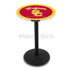 Holland Bar Stool - Holland Bar Stool L214 - Black Wrinkle Usc Trojans Pub Table - L214 - Black Wrinkle Usc Trojans Pub Table belongs to College Collection by Holland Bar Stool Made for the ultimate sports fan, impress your buddies with this knockout from Holland Bar Stool. This L214 USC Trojans table with round base provides a commercial quality piece to for your Man Cave. You can't find a higher quality logo table on the market. The plating grade steel used to build the frame ensures it will withstand the abuse of the rowdiest of friends for years to come. The structure is powder-coated black wrinkle to ensure a rich, sleek, long lasting finish. If you're finishing your bar or game room, do it right with a table from Holland Bar Stool. Pub Table (1)