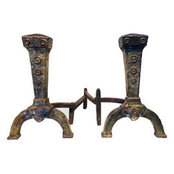 Pre-owned Antique Mixed Metal Brass Andirons - There is both brass and copper in these amazing antique andirons. The rich, colorful patina of these hand made andirons shows their age, which we believe dates back to the early 1920s. They exhibit a classic Arts and Crafts shape and style, as well as quality craftsmanship. They are in excellent condition with an adjustible hinge on each that moves with ease.
