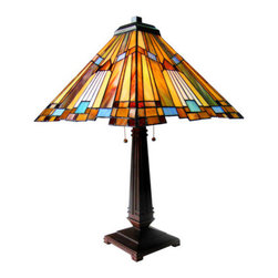 "23"" H Stained Glass Mission Style Pharaoh's Jeweled Table Lamp - This magnificent table lamp is designed in the shape of a pyramid.  It features golden rays like the sun and glass in the colors of jewels.  The base is a craftsman style with architectural traits.  Features two pull chains.  Primary colors are Gold, Blue, Red and Purple."