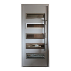 "Modern Front Entry Door - ""Tokyo"" - modern entry door in white finish. The door is constructed with aluminum frame for higher thermo insulation and absolute rust protection. Stainless steel door slab with decorative glass inserts make it look irresistable. 3 point locking system is added for extra security. The door is suitable for installations in Coastal Regions with high risk hurricane. The price includes complete set. Sidelites and transom are available at extra cost. For more information visit www.villedoors.com"