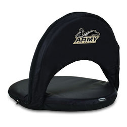 Picnic Time - US Military Academy Army Oniva Seat Recreational Reclining Seat Black - When you need a recreational reclining seat that's lightweight and portable, the Oniva Seat is for you. It has an adjustable shoulder strap and six adjustable positions for reclining. The seat cover is made of polyester, the frame is steel, and the seat is cushioned with high-density PU foam, which provides hours of comfortable sitting. The bottom of the seat is black so as not to soil easily. The Oniva Seat is great for the beach, the park, gaming and boating.; College Name: US Military Academy Army; Mascot: Black Knights; Decoration: Digital Print