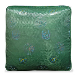 China Furniture and Arts - Silk Pillow (#77) - The four-season flower is brocaded on the luxurious jade green silk. Mix or arrange decoratively on a sofa, bed, or chaise. Zipper cover removes for dry cleaning.