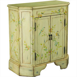"Hammary - Hidden Treasures Two Door Cabinet - Hammary's Hidden Treasures collection is a fine assortment of unique accent pieces inspired by some of the greatest designs the world over. Each selection is rich in Old World icons and traditions. Every piece in this collection is crafted with the upmost attention to fine details. Each item is a work of art from brass nailhead trim and exquisite hand-painting to elegant shaping and decorative trim. Wide varieties of materials are used to create a perfect look and fine quality which includes exotic woods, leather, and stone to raffia and glass. The wide variety of finishes, hardware, beautiful carvings and other final touches offer unmatched versatility for any room in your home. Hidden Treasures features cocktail tables, occasional and accent pieces, trunks, chests, consoles, wine racks, desks, entertainment units and interesting storage pieces. Place one in a comfortable reading nook. . . in the family room for flair and variety. . . in the foyer for a welcome look. . . in a bedroom for a cozy style. . . or in the office for function and versatility. The pieces in this collection mix beautifully with any decorating style and will easily become the focal point in any setting.; Hidden Treasures Collection; Finish:; 2 Doors; Antiqued White; Hand Painted Vine, Flower and Bird Motif; Weight: 48 lbs.; Dimensions: 27""W x 14""D x 29. 75""H"