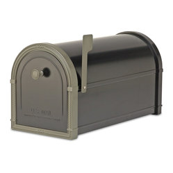 "Architectural Mailboxes - Bellevue Post Mount Mailbox Black with Bronze Accents - ""Neither rain nor snow… "" You can count on this good looking mailbox to keep your incoming mail secure from the elements for many years to come."