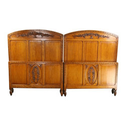 EuroLux Home - Pair Consigned Antique Art Deco Beds 1920 France 2 - Product Details