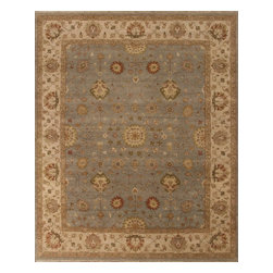 Rugsville - Rugsville Sultanabad Rustic Vegetable dyes Wool 10257 Rug, Blue, 8'x10' - Rugsville decorate your home with a strikingly beautiful Rustic Sultanabad Wool rug from Afghanistan. This hand-knotted Sultanabad rug is a unique piece of world art with its floral pattern in vegetable dye colors of light blue and beige.