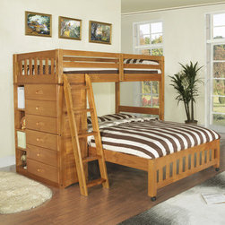 "Discovery World Furniture - DWF1154Weston Twin over Full L-Shaped Bunk Bed with Bookshelves and Storage - Features: -Complete slat kit makes bed mattress ready - no foundation required.-European roller glide drawers.-Bookshelf has four shelves with two adjustable.-Collection: Weston.-Distressed: No.-Powder Coated Finish: No.-Gloss Finish: Yes.-Frame Material: Wood.-Solid Wood Construction: Yes.-Non Toxic: Yes.-Stain Resistant: No.-Scratch Resistant: No.-Joinery Type: Glued, screwed, and doweled.-Configuration: Twin over full.-Mattress Included: No.-Recommended Mattress Height Top Bed: 8"" or less.-Mattress Height Maximum Top Bed: 8"".-Recommended Mattress Height Bottom Bed: 4""-12"".-Boxspring Required Top Bed: No.-Boxspring Required Bottom Bed: No.-Converts to Two Beds: No.-Slat System Included: Yes -Number of Slats Included: 20..-Center Support Legs: No.-Guardrail(s) Included: Yes.-Trundle Bed Included: No.-Ladder Included: Yes -Ladder Location: Universal..-Built In Stairs: No.-Built In Desk Included: No.-Casters: Yes.-Wood Molding: No.-Tent Included: No.-Slide: No.-Headboard Storage: Yes -Number of Headboard Drawers: 6.-Number of Headboard External Shelves: 4..-Underbed Storage: No.-Also Suitable for Adults: Yes.-Weight Capacity Top Bed: 200 lbs.-Weight Capacity Bottom Bed or Futon: 200 lbs.-Swatch Available: No.-Commercial Use: No.-Recycled Content: No.-Eco-Friendly: Yes.Specifications: -FSC Certified: No.-EPP Certified: No.-ISTA 3A Certified: No.-General Conformity Certified: No.-Green Guard Certified : No.-CARB Compliant: Yes.-CPSC or CPSIA Compliant: Yes.-ASTM Certified: Yes.-PEFC Certified: No.-JPMA Certified: No.Dimensions: -Overall Product Weight: 243.43 lbs.-Overall Height - Top to Bottom: 64"".-Overall Width - Side to Side: 80"".-Overall Depth - Front to Back: 80"".-Distance Between Top and Bottom Bunk: 31"".-Bottom of Lower Bunk to Floor: 12.8125"".-Bottom of Top Bunk or Loft to Floor: 48.625"".-Headboard Height Top to Bottom: 15.5625"".-Headboard Depth Front to Back: 2.5"".-Footboard Depth Front to Back: 2.5"".-Drawers: -Drawer Interior Height Top to Bottom: 4.75"".-Drawer Interior Drawer Width Side to Side: 25"".-Drawer Interior Depth Front to Back: 15""..-Side Rail Length: 75"".Assembly: -Assembly Required: Yes.-Tools Needed: Hex wrench included.-Additional Parts Required: No.Warranty: -Product Warranty: 1 year."