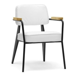 Baxton Studio - Mid-Century Modern Accent Chair - Black steel frame. White faux leather with polyurethane foam cushioning. Wooden ash armrests. Wipe with damp cloth. No assembly required. Arm height: 26.1 in.. Seat: 20 in. W x 19.5 in. D x 18.87 in. H. Overall: 24.38 in. W x 25.13 in. D x 32 in. H (25 lbs.)A fusion of varying materials makes our Lassiter Chair a modern work of art. We love this piece not only as a living room chair but as a waiting room chair and office chair.