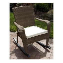 Hospitality Rattan - Grenada Patio Rocking Chair in Viro Fiber Ant - Fabric: Bay BrownCharming and elegant with a comfortable, relaxing spirit, this island inspired rocking chair will be a welcome addition to any outdoor decor. Perfect for a porch or patio, the rocker is constructed of woven wicker in a warm antique brown finish and is highlighted by a durable aluminum frame. This product is warranted for outdoor use. Made of Aluminum Frame w All Weather Viro Fiber Wicker. Constructed of an aluminum frame wrapped in woven viro fiber. Cushions are optional on this item. Weather and UV resistant. Viro Fiber antique finish. Matching dining group and pub set available. Stackable design helpful In commercial settings. 31 in. W x 40 in. D x 38 in. H (17 lbs.)The Grenada contemporary patio set has a fully anodized aluminum frame and woven Viro fiber, which gives this collection a unique textured surface. The Grenada Collection does not require cushions. The collection also features frosted tempered glass on all its tables, along with the ability to accommodate an umbrella with the patio dining set. Cushions are optional and are not included.The Grenada Collection has a contemporary, yet tropical feel that offer a clean look for any patio area and the convenience of all-weather wicker. Supported by an aluminum frame wrapped in high quality Viro fiber. This all-weather wicker rocking chair is incredibly comfortable with or without cushions. The simplicity of the Grenada collection and the versatility really make it an excellent choice for anyone.