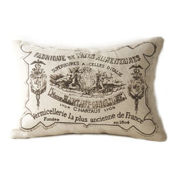 Kathy Kuo Home - French Country Down Blend Pillow with Illustrations - The real deal, this vintage style pillow suggests a country market in 19th Century France with its playful illustration of an ancient pasta company's logo.  A shabby chic accent piece to any sofa or bed.