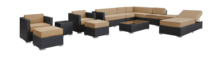 LexMod - Fusion Outdoor Wicker Patio 12 Piece Sectional Sofa Set - Harmonious positioning lends grace to every gathering with this sprawling outdoor sectional set. Commingle as participants contribute individual strengths to combine into a collective powerhouse of perfection. Turn your surroundings into a sought after meeting place in this consummate arrangement of beauty.