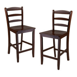 Winsome - 24 in.  Counter Ladder Back Stool - Set of 2 - The simple and straight forward, yet classic look of these 24 in. ladder back stool allow them to be used with a variety of decors from country to contemporary. Their design and rich Antique Walnut finish is a perfect match to high pub table. Made of Solid wood and Ready to Assemble.
