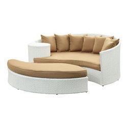 """LexMod - Taiji Outdoor Patio Daybed in White Mocha - Taiji Outdoor Patio Daybed in White Mocha - Harmonize inverse elements with this radically pleasing daybed set. Seven plush throw pillows adorn Taiji's thick all weather orange cushions allowing for the splendorous blending of mediating elements. Find the key to attainment as you bask in a charged and unified landscape of expansiveness. Set Includes: One - Taiji Outdoor Wicker Patio Daybed One - Taiji Outdoor Wicker Patio Ottoman Seven - Taiji Outdoor Wicker Patio Throw Pillows Synthetic Rattan Weave, Powder Coated Aluminum Frame, Water & UV Resistant, Machine Washable Cushion Covers, Ships Pre-Assembled Overall Product Dimensions: 71""""L x 79""""W x 29""""H Daybed Dimensions: 71""""L x 51""""W x 29""""H Ottoman Dimensions: 59""""L x 28""""W x 10""""H Seat Height: 10""""HBACKrest Height: 29""""H - Mid Century Modern Furniture."""