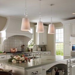 Kiev Pendant with White Shade and Clear Fount - Also available in black shade and varying fount glass colors