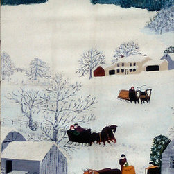 Grandma Moses Sugaring Off Street Banner Wall Art - From the Crocker Art Musuem, an authentic, limited edition street banner to display in your home as spectacular wall art. Using a palette of whites, folk artist Grandma Moses (1860-1961) creates a winter wonderland that harkens back to an earlier, simpler time in America's past. With no formal training as a painter, she nonetheless found her own unique voice to express her vision of rural life as she recalled it from her childhood in the late 1800s. These banners feature her famous wintery work, Sugaring Off with a bustling scene of villagers making maple sugar.
