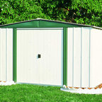 Arrow Sheds - Arrow Hamlet 8 x 6-foot Storage Shed - This storage shed has an electro galvanized steel for corrosion resistance and a reinforced steel roof. The 8 x 6-foot shed has convenient sliding doors for easy entry and exit and pre-cut and pre-drilled parts for easy assembly.