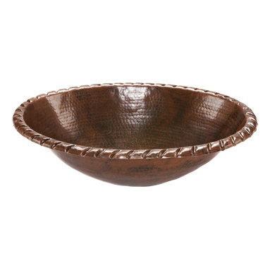 Premier Copper Products - Oval Roped Rim Self Rimming Copper Sink - Uncompromising quality, beauty, and functionality make up this Premier Oval Roped Rim Self Rimming Hammered Copper Bathroom Sink.