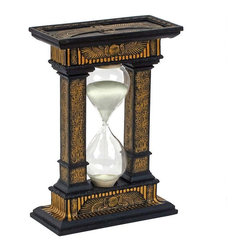 EttansPalace - Ancient Egyptian Hourglass Statue Sculpture - With period hieroglyphs highlighted by a rich faux ebony and gold finish, this handsome work of decorative art is a stylish ancient Egyptian home accent and an amusing glass timepiece (as long as you don't require Greenwich Mean Time!) Cast in quality designer resin, our Egyptian collectible hourglass empties within 5 minutes.