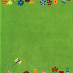 HABA Meadow Area Rug - Who doesn't like to walk across a blossoming springtime meadow? Look! There is even a butterfly passing by.