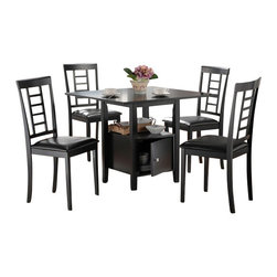 """Acme - 5-Piece Black Finish Wood Square Pedestal Dining Table Set with Storage Base - 5-Piece black finish wood square pedestal dining table set with storage base and leather like padded seats. This set includes the table and 4 side chairs. Table features a black finish wood with a storage pedestal base and lower shelf, and the chairs are upholstered with a leather like. Table measures 36"""" x 36"""". Chairs measure 37"""" H to the back. Some assembly required."""