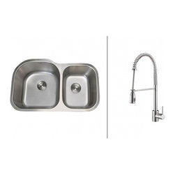 Ruvati - Ruvati RVC2556 Stainless Steel Kitchen Sink and Chrome Faucet Set - Ruvati sink and faucet combos are designed with you in mind. We have packaged one of our premium 16 gauge stainless steel sinks with one of our luxury faucets to give you the perfect combination of form and function.