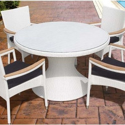 "Fifthroom - 48"" White Wicker Dining Table and Wicker Stacking Chair Set -"