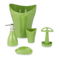 Umbra - Umbra Curvino Green Waste Basket Set - Bath accessories with unique shapes will be an eye-catching addition to any bathroom, and the bright shade of green will add a touch of color to your decor. Molded melamine bath ensemble is scratch- and break-resistant.