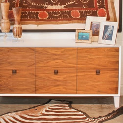 Furniture - This mid century inspired credenza is built to order. It can be used as a buffet, TV/AV cabinet, buffet, office storage, and more. Custom sizes, finishes, wood veneers, & configurations are available.