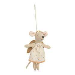 maileg - Baby Angel Mouse Ornament, Gold - This baby angel mouse is the cutest to decorate a room, a stroller, or your christmas tree!