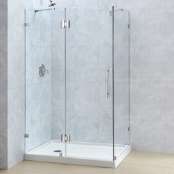 "Dreamline - QuatraLux 34 5/16 x 46 5/16 Frameless Hinged Shower Enclosure, 3/8"" Glass Shower - The QuatraLux shower enclosure delivers an upscale modern look to your bathroom at an incredible value. Get the look of custom glass with premium 3/8 in. thick tempered glass and a sleek frameless design. The QuatraLux uses self-closing solid brass hinges for a secure closure. Install the QuatraLux on a custom tile floor or combine with a DreamLine shower base for a streamlined transformation."