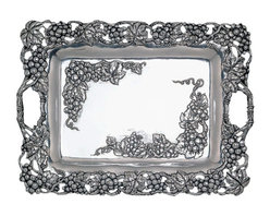 Arthur Court - Grape Clutch Tray - Uncork a bottle of your favorite wine and serve guests cheese and crackers on this this beautiful serving tray. Embellished with ornate vines and grapes, it stands out on its own — or can be paired with the matching serving bowls, plates and accessories.