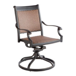 Alfresco Home Pilot All-Weather Wicker Swivel Dining Chair - Set of 2 - Beautifully combining modern and classic looks, the Alfresco Home Pilot All-Weather Wicker Swivel Dining Chair - Set of 2 is a gorgeous addition to any patio or deck. Each chair is made with a cast aluminum frame covered in woven resin wicker constructed from weather-resistant polyethylene. Their gorgeous, powder-coated antique topaz finish beautifully complements the rich brown of the wicker. Made to withstand the elements, this set is UV-protected to prevent fading and can withstand temperatures up to 130 degrees Fahrenheit. 95 percent of the frame is fully welded while the rest is secured with rustproof, stainless steel hardware. Easy to clean with a soft cloth and water, these chairs also tilt and swivel for your comfort. Perfect for entertaining, you'll love being able spend more time outdoors this year. Additional Features Cast aluminum will not rust 95% of the frame is fully welded Made with rust-proof stainless steel hardware Resin wicker made from weather-resistant polyethylene Withstands temperatures up to 130 degrees Fahrenheit UV-protected to prevent fading Easy to clean with water and a soft cloth Tilts and swivels for your comfort No assembly required Includes a 5-year frame and 2-year paint warranty About Alfresco HomeOffering a wide selection of fashionable products, from casual furniture and garden lighting to permanent botanicals and seasonal decor, Alfresco Home casual living products offer a complete line of interior and exterior living furnishings and accents. Based out of King of Prussia, Penn., Alfresco Home continues to blend indoor and outdoor furniture to create a lifestyle of alfresco living inside and outside of the home. Inlaid mosaic tabletops, fine hardwood furnishings, artisan-inspired accents, premium silk botanicals, and all-weather wicker sets are just a few examples of the kind of treasures you'll find in Alfresco's specially designed collections.