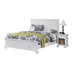 Home Styles - Home Styles Naples Queen Panel Bed 3 Piece Bedroom Set in White Finish - Home Styles - Bedroom Sets - 55305014 - The Naples Queen Panel Bed Three Piece Bedroom Set has solid hardwood and engineered wood construction with a rich multi-step white finish. This bedroom set includes a Queen size panel bed a nightstand and a chest. The panel bed features raised panels on the headboard and footboard. The nightstand features one drawer and a lower open storage compartment for keep all your bed time necessities within arms reach. The chest features four large drawers with a felt-lined top drawer. With contemporary design elements the Naples Queen Panel Bed Three Piece Bedroom Set offers a lasting appeal you will enjoy for many years.The Naples Collection by Home Styles Furniture offers simple yet functional pieces for your home. It features a classic white finish that can blend in with any decor and bracket bases for that added contemporary charm. The Home Styles Furniture Naples Collection appears to be simple in design but it is in the details that give it an exquisite appeal.Includes: