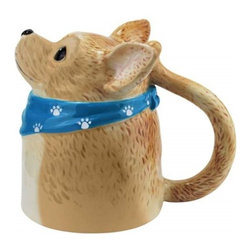Westland - Chihuahua Dog in Blue Scarf with Imprinted Paws Looking up Coffee Mug - This gorgeous Chihuahua Dog in Blue Scarf with Imprinted Paws Looking up Coffee Mug has the finest details and highest quality you will find anywhere! Chihuahua Dog in Blue Scarf with Imprinted Paws Looking up Coffee Mug is truly remarkable.