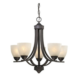 Design Classics Lighting - Bronze Chandelier with Alabaster Glass Shades  - 222-78 - Contemporary / modern bolivian bronze 5-light chandelier. Includes 6-feet of chain and 7-feet of wire. Takes (5) 100-watt incandescent A19 bulb(s). Bulb(s) sold separately. UL listed. Dry location rated.