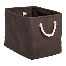 Jute Bins - This is the bin I ended up going with for my under-bench storage project. Handles, a dark color, roomy dimensions — sold!