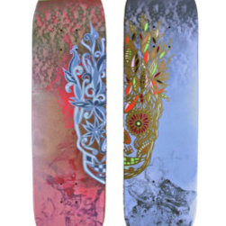 Day Of The Dead Skate Decks (Original) by Dyd Art - Two painted skate decks together make a picture of a Calavera/sugar skull.