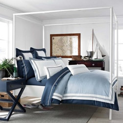 Southern Tide the Maritime Duvet - The Southern Tide Maritime Duvet is like a breath of fresh sea air in contemporary bedroom decors, offering an updated coastal style in the classic comfort of 100% cotton. Designed with a solid field and accent stripe, this duvet features casual, beachy colors of sand, white, and blue, and is available in your choice of size.Dimensions:Queen: 96L x 92W inchesKing: 96L x 110W inches