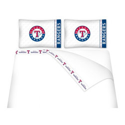 Sports Coverage - Sports Coverage MLB Texas Rangers Microfiber Sheet Set - Queen - MLB Texas Rangers Microfiber Sheet Set have an ultra-fine peach weave that is softer and more comfortable than cotton! This Micro Fiber Sheet Set includes one flat sheet, one fitted sheet and a pillow case. Its brushed silk-like embrace provides good insulation and warmth, yet is breathable. It is wrinkle-resistant, stain-resistant, washes beautifully, and dries quickly. The pillowcase only has a white-on-white print and the officially licensed team name and logo printed in team colors. Made from 92 gsm microfiber for extra stability and soothing texture and 11 pocket. Sheet Sets are plain white in color with no team logo. Get your MLB Sheets Today.   Features:  -  92 gsm Microfiber,   - 100% Polyester,    - Machine wash in cold water with light colors,    -  Use gentle cycle and no bleach,   -  Tumble-dry,   - Do not iron,