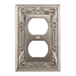 Floral Design Solid Brass Duplex Outlet Cover - Add an accent to your home with the Floral Design Solid Brass Duplex Outlet Cover. Features a decorative floral design and accommodates a set of duplex outlets.