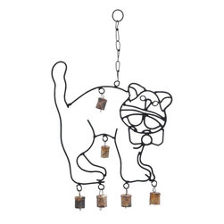 Benzara - Cute Wind Chime with A Cat Design - This Cute Metal Wind Chime with a Cat Design (18 in. ) is an aesthetic showpiece to fawn over. It comes shaped like a cute cat and is perfect to hang at your bedroom window. Complete with a beautiful bow around its neck and a bewildered expression that is a trademark of cats, this metal wind chime looks wonderful even in children's bedrooms. It is an example of ingenious craftsmanship with the seamless metal structure almost emulating a real cat. This unique wind chime has bells suspended from metal links around the cat's paws and body. With the flows of breeze through your home, these bells will gently tinkle spreading a soothing sound through your home that is so peaceful and calming. Crafted from metal, this wind chime is still totally rustproof and weathers the adverse climatic effects with gusto. /li>.