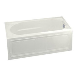 "KOHLER - KOHLER K-1184-RA-0 Devonshire Alcove Bath with Integral Apron - KOHLER K-1184-RA-0 Devonshire 60"" x 32"" Alcove Bath with Integral Apron, Tile Flange and Right-Hand Drain in White"