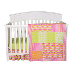 """Trend Lab - Savannah - 3 Piece Crib Bedding Set - Vibrant chevron zigzags add the perfect amount of style and radiance to your baby's nursery. The Savannah Collection brilliantly combines trend-right chevron with patches of variegated stripes, mini dots, lattice and geometric circles in an adorable color palette of paradise and petal pink, tiger orange, chartreuse green and white. The bold patterns and colors add a charming twist to your baby girl's nursery. Quilt measures 35"""" x 45"""" and features patches of multicolored chevron and variegated stripe prints, a tiger orange and white geometric circle print, and a lattice and mini dot print both featured in chartreuse green and white. Quilt is framed with the multicolored variegated stripe print and is backed with the lovely white and chartreuse lattice print. Fitted crib sheet features a charming 100% cotton chartreuse and white mini dot print. Crib sheet fits a standard 52"""" x 28"""" crib mattress and features deluxe 10"""" deep pockets with elastic surrounding the entire opening ensuring a more secure fit. Ruffled Crib Skirt with 10"""" drop features the trend-right multicolored chevron print. Coordinating Levi and Savannah Crib Bumpers and coordinating room accessories are available for separate purchase."""