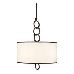 Currey and Company - Brownlow Pendant, Bronze Gold, Large - The Brownlow Small Pendant is accented with rings of iron in a bronze gold finish. The rims of the beige shantung shade is detailed with a brass trim. The elegant simplicity of this design makes it an appropriate fixture for many settings.