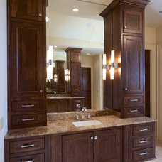 Transitional Bathroom by AVID Associates LLC