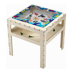 """Anatex - Magnetic Sand Sea Life Activity Table - Children are endlessly entertained as they control the movements of these realistic sharks, fish, crabs, starfish, whale, squid and turtle with magnets attached to the bottom of the table. Fascinating creatures from under the sea and on the shore come to life with magnetic wands that move them through the sand. The wonders of the ocean become a true magnetic learning experience! Features: -Excellent for children interested in the marine environment -Animals look life-like -Dimensions: 24"""" H x 24"""" W x 24"""" D"""