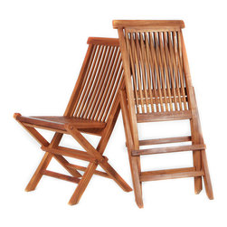All Things Cedar - Teak Folding Chair Special Price Combo Set (2 per box) - Our folding chairs are made from genuine Indonesian Teak, finished with a light teak oil and fitted with solid brass hardware to ensure many years of trouble-free use. Easily folds away for convenient Storage or transport. Item is made to order.