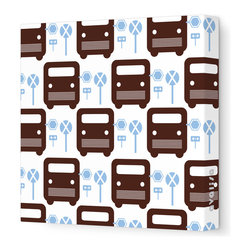 """Avalisa - Things That Go - Bus Stop Stretched Wall Art, 28"""" x 28"""", Brown Blue - For a cutting-edge art look, forget the frame! This poppy bus motif will be eye-catchingly cute in your child's room — or wherever young-at-heart grown-ups gather."""